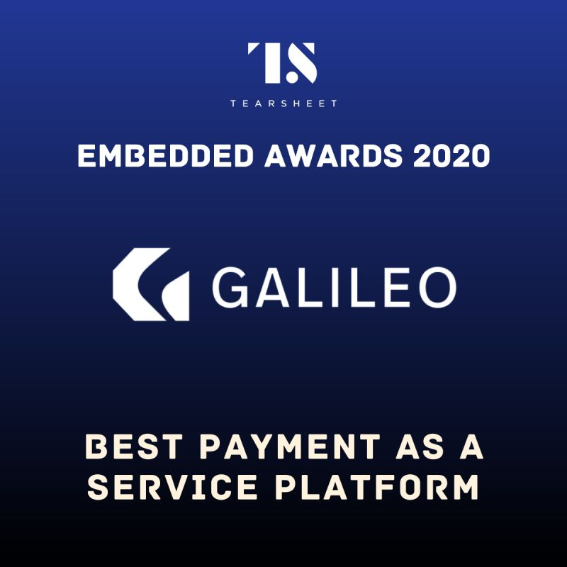 best payment as a service award -- Tearsheet embedded awards -- galileo